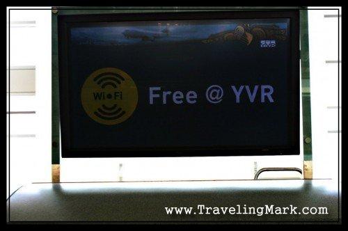 Large Flat Screen TV Advertising Free WiFi at YVR
