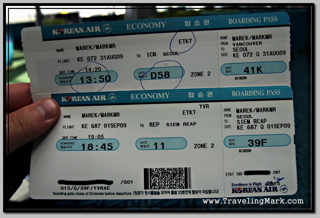 Korean Air Boarding Passes Traveling Mark