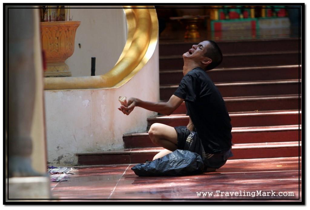Crooked Beggar who Makes a Lot of Money at the Steps to Preah Ang Chek Preah Ang Chorm Shrine