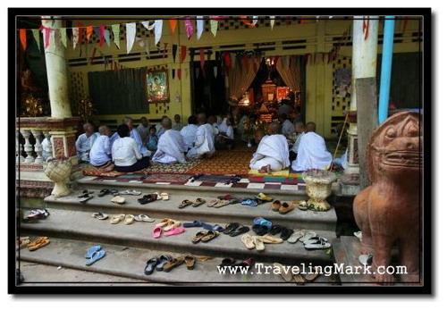 Photo: Buddhists Commemorating Pchum Ben Festival at Wat Kesararam Prayer Hall