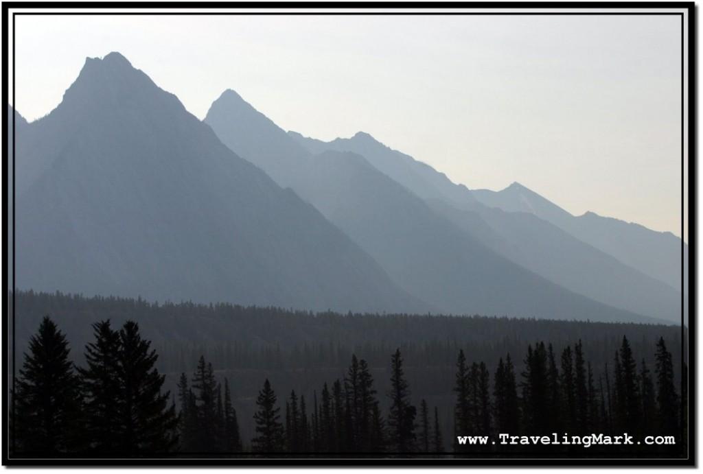 Photo: Canadian Rocky Mountain Peaks Hazed in Early Morning Mist
