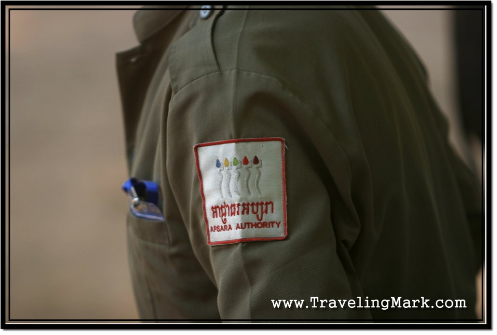Photo: Apsara Authority Inspector at an Entrance to One of Angkor Temples