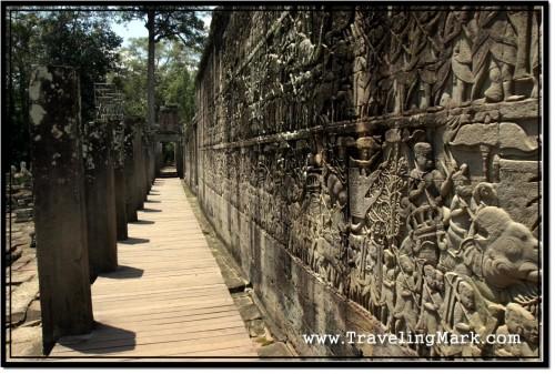 Photo: Extensive Bas Reliefs Covering Bayon's Exterior Wall