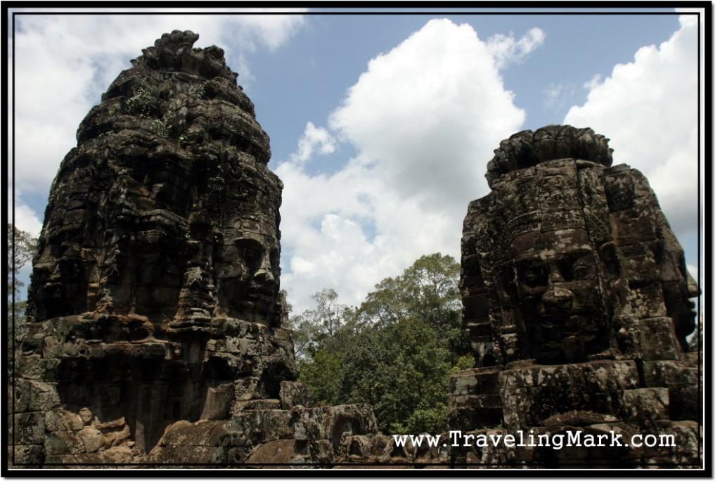Photo: Face Towers of Bayon Guarding Angkor Thom of Ancient Cambodia