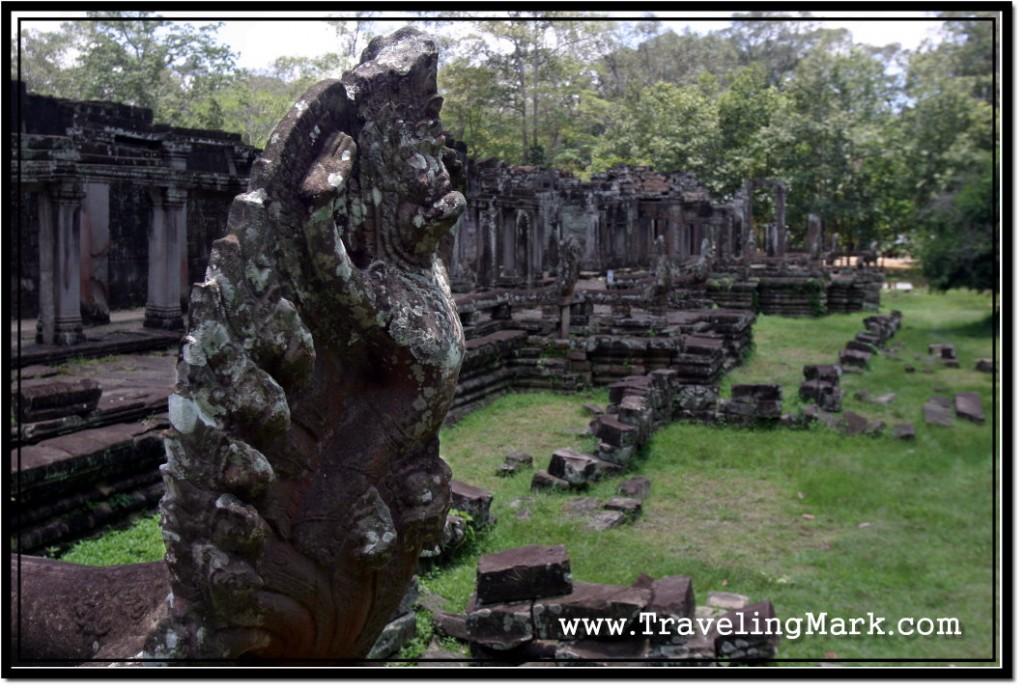 Photo: Multi-Headed Serpent Naga Guarding the Entrance to Bayon