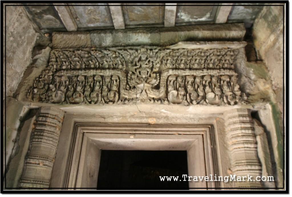Photo: Carving of God Vishnu Garudavahana Standing on Garuda Seen on Inner Door Lintel of the Thommamnon Madapa