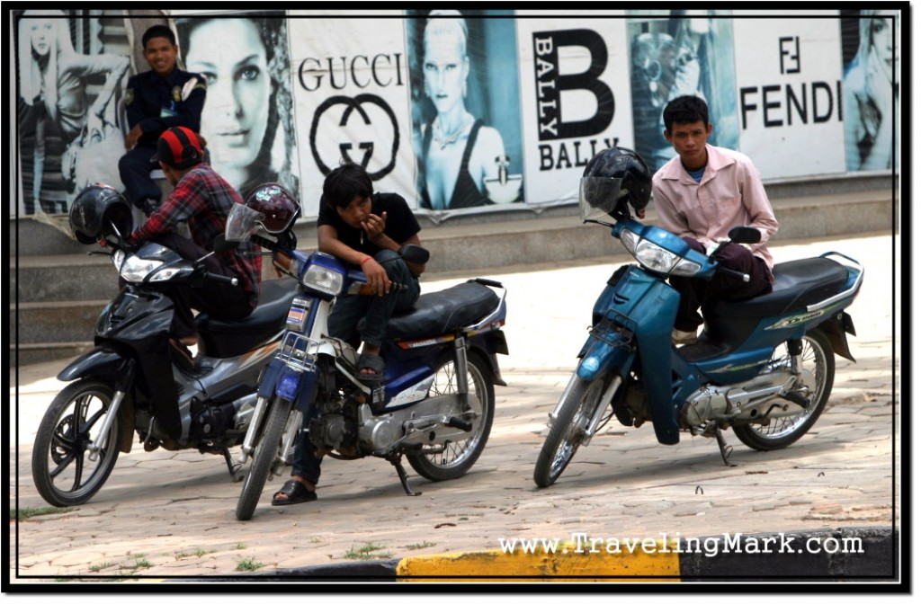 Photo: Lazy Cambodian Youth Killing Time With Their Motorcycles