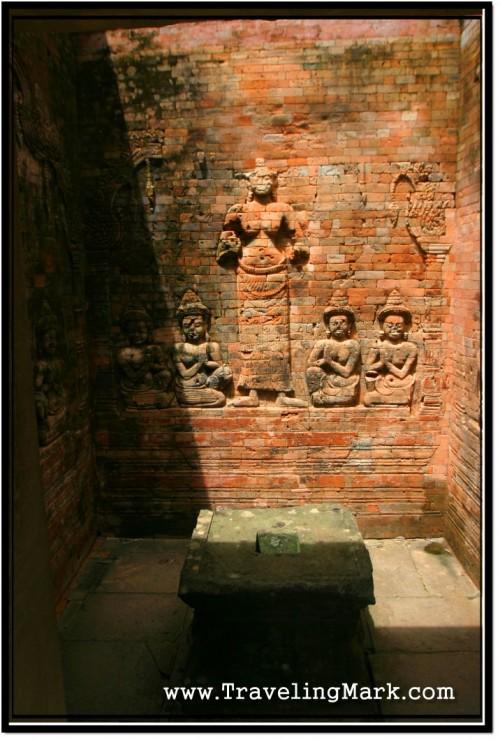 Photo: Bas Relief of Lakshmi Goddess, Consort of Vishnu at Prasat Kravan