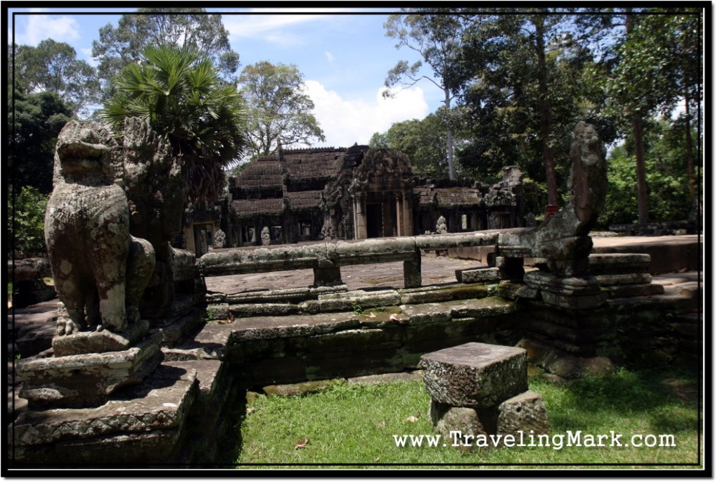 Photo: Balustrade and Stone Lions Decorate the Banteay Kdei Cruciform Terrace