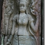 Photo: Banteay Kdei Carving of a Watchful Apsara