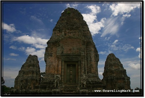 Photo: East Mebon Central Tower is In the Middle of Square Platform with Smaller Towers in Each Corner