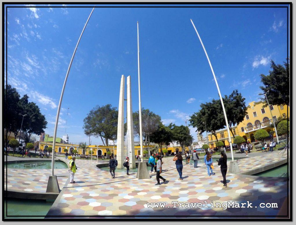Parque de Armas in Ica Seen Through Fisheye Lens