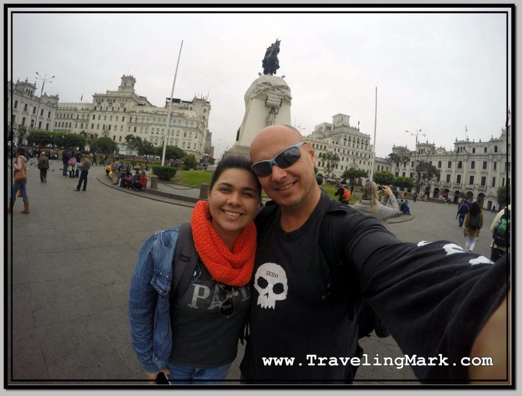Selfie at Plaza San Martin in Lima, Peru