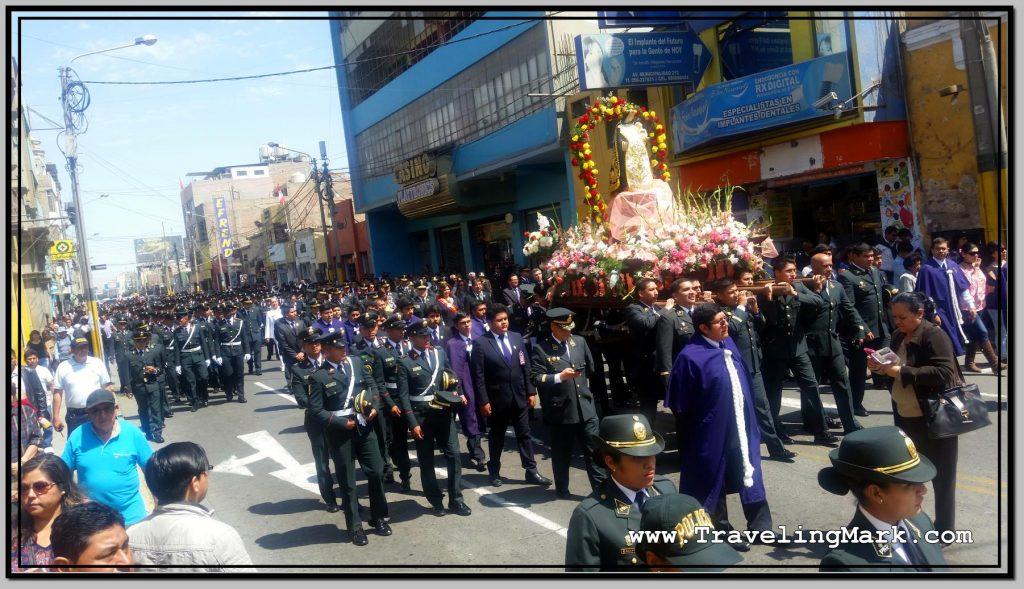 Police Procession Beside Plaza de Armas in Ica, Peru