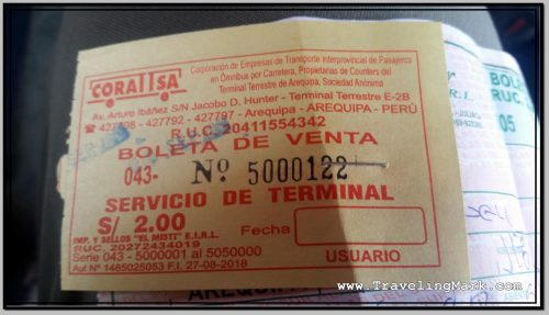 Photo: Arequipa Bus Terminal Service Fee