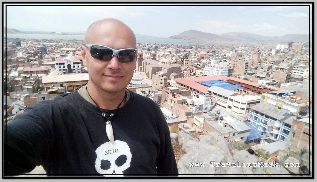 Photo: Selfie on Cerrito de Huajsapata with Lake Titicaca in Background