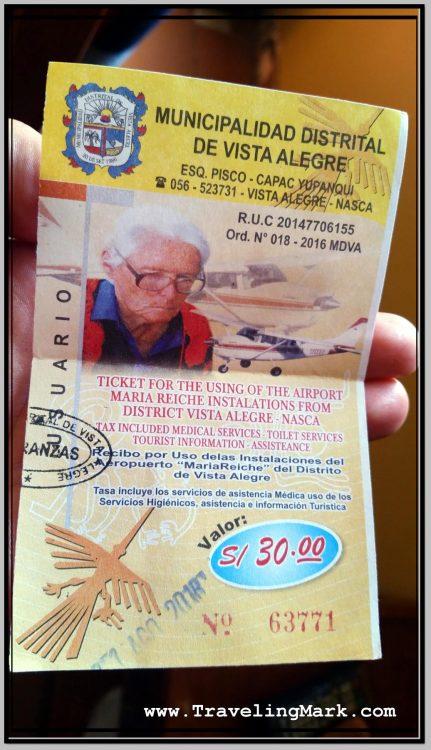 Photo: Nazca Airport Fee Receipt
