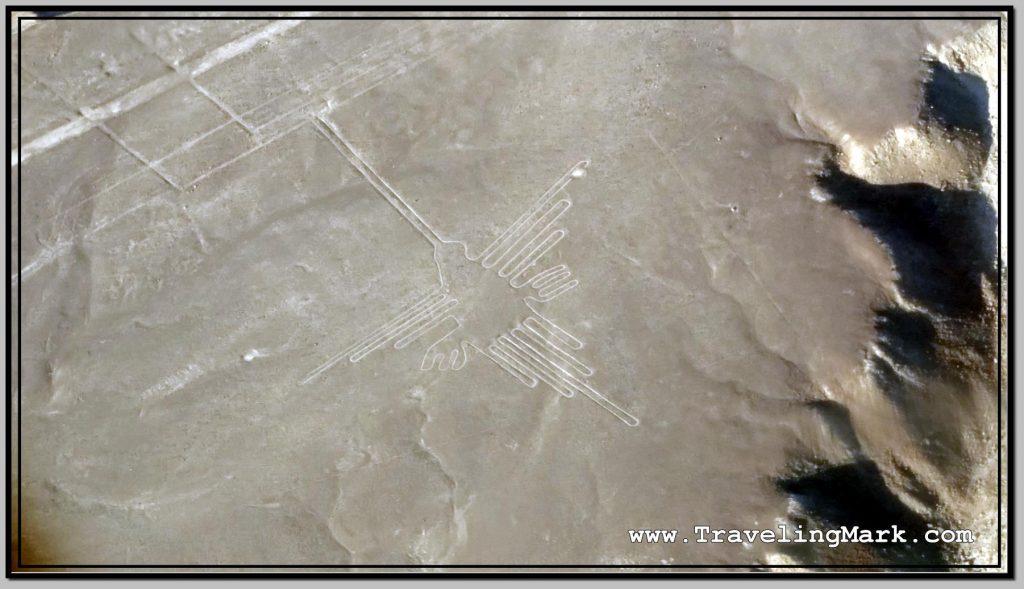 Photo: Nazca Lines Closeup Image of Hummingbird (Colibri)