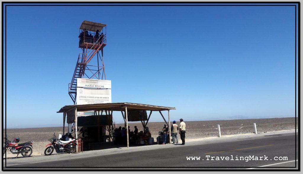 Photo: Mirador, or Observation Towar at Two Nazca Geoglyphs