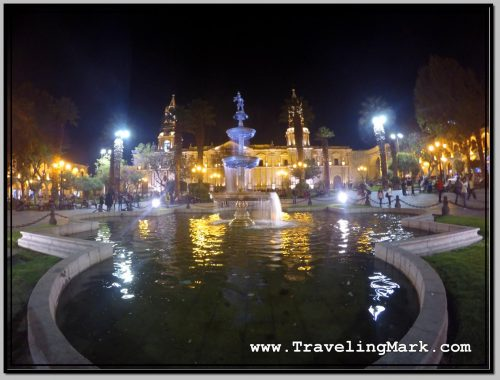 Photo: Wide Angle Shot of Plaza de Armas Fountain with Arequipa Cathedral in Background