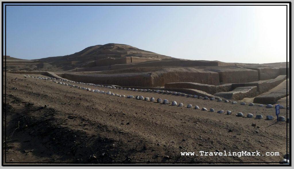 Photo: White Stones Mark the Walkway at Cahuachi Pyramids