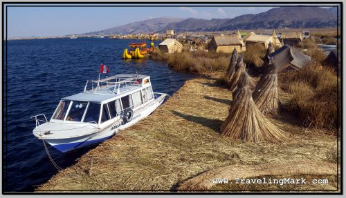 Photo: Boat with Which We Arrived on Uros Island Is Docked on Side of Floating Mass