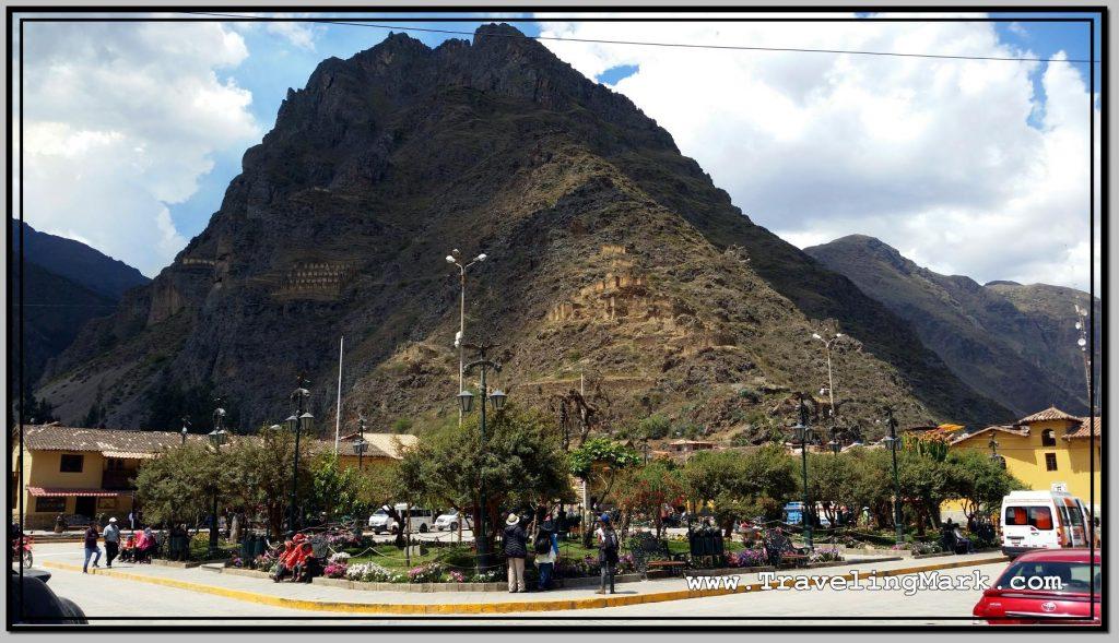 Photo: Pinkuylluna Hill Housing Ruins of Inca Storehouses Overlooks the Town of Ollantaytambo