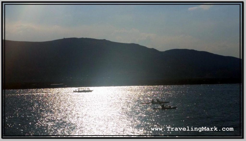 Photo: View of Fishing Boats Trawling Waters Around Uros Fishing Islands