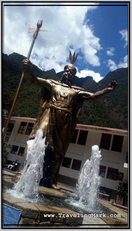Photo: Fountain with Statue of Inca in Aguas Calientes