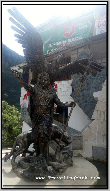 Photo: Statue of Inca Warrior with Condor in Flight