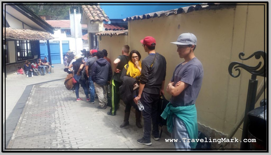 Photo: Line of People Waiting to Buy Afternoon Entry Ticket to Machu Picchu Went Around Corner of Centro Cultural
